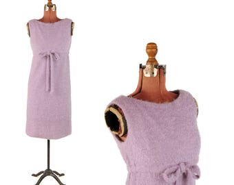 Vintage 1960's Pale Lilac Fuzzy Loop Knit Wool Empire Waist Mod Baby Doll Shift Retro Dress S