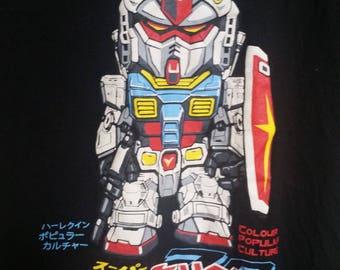vintage retro gundam tshirt black small anime