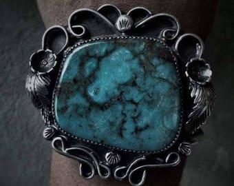 Vintage Turquoise Cuff, Sterling Silver Bracelet