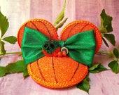 Poison Pumpkin Glitter FascinEar™ Fascinator Hat With Mouse Ears