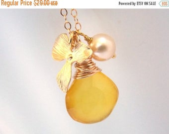 SALE Yellow Necklace, Chalcedony Necklace, Pendant, Gold Filled, Pearl, Citrine, Gemstone, Gold Orchid, Bridesmaid Necklace, Bridesmaid Gift