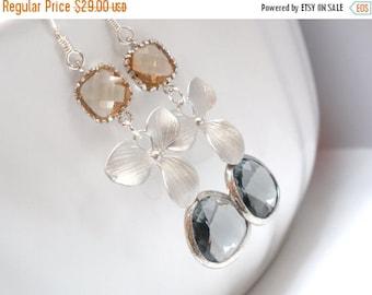 SALE Glass Earrings, Gray Earrings, Grey Earrings, Silver Orchid Earrings, Flower Earrings, Champagne, Peach Earrings, Silver Earrings, Char
