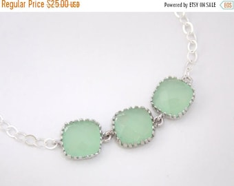 SALE Mint Bracelet, Mint Green, Light Green, Glass Bracelet, Sterling Silver, Wedding Jewelry, Bridal, Bridesmaids Bracelet, Bridesmaid Gift
