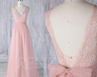 2017 Peach Tulle Bridesmaid Dress, Lace V Neckline Wedding Dress,A Line Prom Dress Removable Belt,V Back Evening Gown Floor Length(LS325)