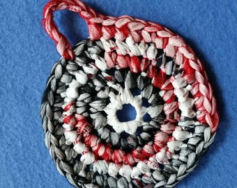 Black White and Red Plarn Dish Scrubby, recycled plastic bags, eco-friendly dish scrubber