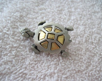 Vintage Signed Turtle Pin Brooch Gold and Silver/Pewter Tone