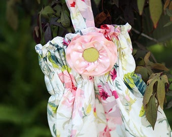 Rose of Sharon Baby Bubble with Detachable Pink Flower & Halter Back