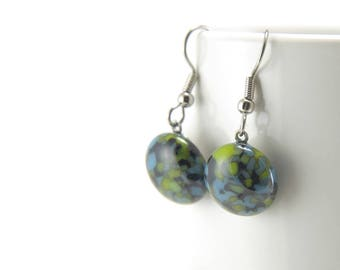 Turquoise and bright lime green fused glass dangle earrings with surgical steel earwires, granite pattern, birthday gift for her