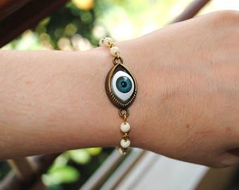 Handmade elegant Evil eye bracelet, Pearl bracelet, Rosary chain bracelet, Beaded bracelet, Glass beads bracelet - available options