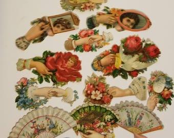 12 Victorian embossed die cuts roses flowers hands Antique vintage scrapbook supplies ephemera D