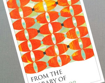 Seventies Style  Bookplate Orange Mod Design, Personalized, Set of 24