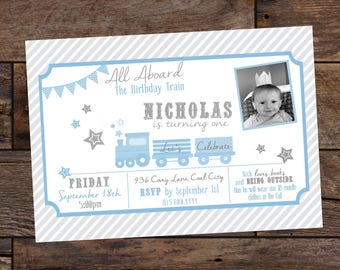 Kids Birthday Party invitations - Train Party - Birthday Invitations for Kids - First Party Birthday Invitations