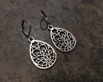 Filigree Leverback dangle earrings with heart detail Stainless Steel Earrings Valentines Day gift Heart earrings