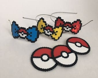8-bit Pokemon Go Theme Party Mystic, Instinct, Valor Pixel Art Bow Headbands, Barrette, Bow Tie