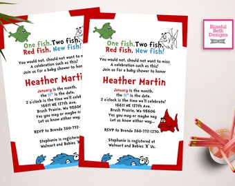 SEUSS BABY SHOWER Personalized Dr. Seuss Baby Shower Invitation, One Fish,  Two Fish