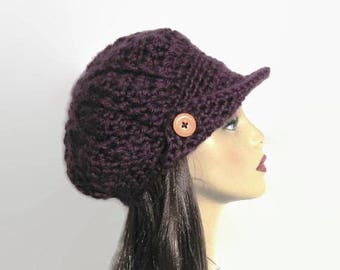 Slouch Newsboy Hat Plum Newsboy Purple knit Newsboy Eggplant Newsboy Purple News boy cap with Visor Purple Crochet Cap with Visor Purple Hat