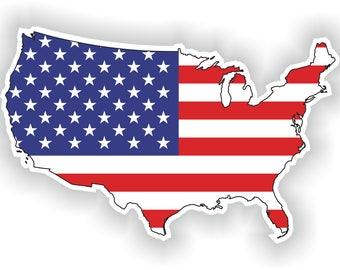 USA Map Flag Silhouette Sticker for Laptop Book Fridge Guitar Motorcycle Helmet ToolBox Door PC Boat