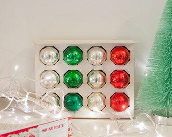 12 Vintage Christmas Ornaments in Shiny Brite box