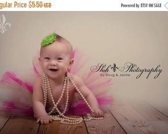 SALE Apple Green Frayed Chiffon Flower Hot Pink Skinny Headband - Photo Prop - Newborn Infant Toddler - Baby Shower