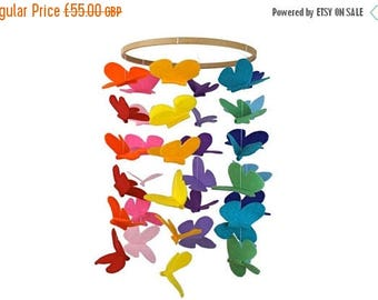 SALE Butterfly Baby Crib Mobile Large - Bright Rainbow