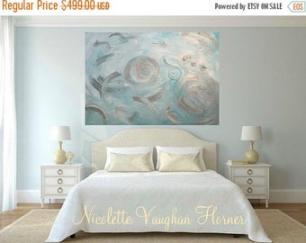 """SALE Enormous 48""""x36"""" Oil Abstract Original Modern palette knife """"Tranquil Days""""  impasto oil painting by Nicolette Vaughan Horner"""