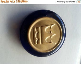 Now On Sale Vintage Cobalt Blue Paperweight Crown Design Collectiible Home Decor