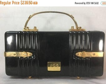 Now On Sale Vintage Crown Lewis Black Box Handbag Purse - Gold Tone Hardware Lined Monogrammed - Mid Century Lucite Clutch Bag