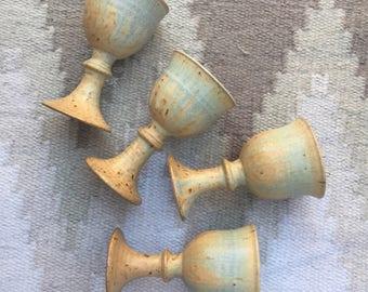 Four Ceramic Wine Chalices