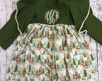 Christmas Dasher dress, christmas  girls dress, monogrammed dress