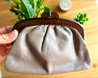 Vintage Small Taupe Coin Purse-Made in Italy-Genuine Leather-Vintage Ladies' Wallet-Vintage Snap Purse-Pouch-For Cell Phone, Makeup, Money