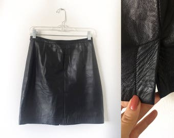 Black 80s Leather  Biker Mini Skirt