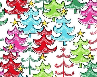 12% off thru July A STAR ATOP  Michael Miller  Christmas quilters cotton fabric by the Half yard Cx6626-snow red green pink aqua trees on wh