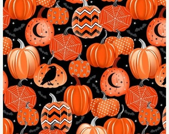 12% off thru July FANGTASTIC orange pumpkins on black-- glow in the dark  Halloween Henry Glass cotton fabric by the Half yard