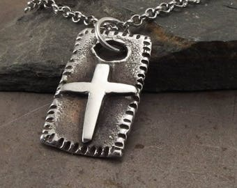 Rustic Christian Cross Sterling Silver Pendant Necklace Handmade Jewelry for Men or Women