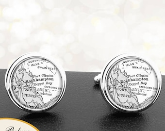 Map Cufflinks Rockhampton Australia Cuff Links for Groomsmen Groom Fiance Anniversary Wedding Party Fathers Dads Men