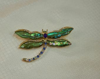 1980's Costume Abalone and Rhinestone Dragonfly Brooch;