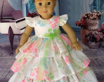 18 inch doll Retro ruffled dress. Fits American Girl Dolls. OOAK Pink vintage floral.