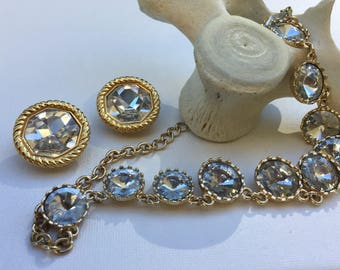 Marked Swarovski Crystal Clip Earrings with a Bold Necklace
