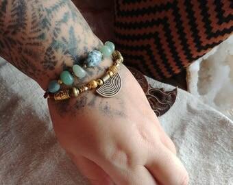 larimar - amazonite - prehnite bracelet