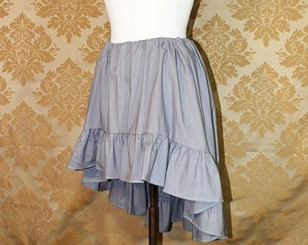 """HALF OFF High Low Mini Cecilia Skirt -- Grey Cotton -- Ready to Ship -- Fits Up To 38"""" Waist"""