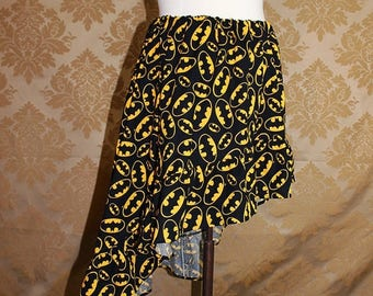 "HALF OFF High Low Mini Cecilia Skirt -- Black/Yellow Bat Symbols -- Ready to Ship -- Fits Up To 38"" Waist"