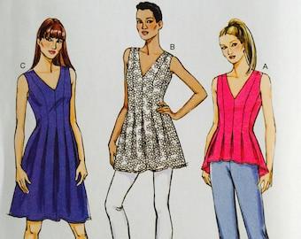 Butterick B6025, Size 16-18-20-22-24, Misses' Top, Tunic and Dress Pattern, UNCUT, Lined Top, Pleats, Sleeveless, Shaped Hemline, 2014