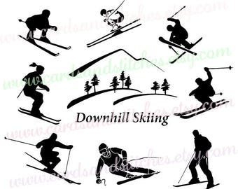 Skiing SVG - Downhill Skiing SVG - Skiers SVG - Digital Cutting File - Cricut Cut - Vector Cut - Instant Download - Svg, Dxf, Jpg, Eps, Png