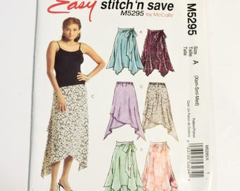 McCalls 5295 Sewing Pattern, Misses Skirt n Sash  Size X-Small, Small, Medium Uncut itsyourcountry
