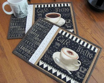 Quilted Mug Rugs/Placemats Paris Cafe' Bistro Theme Fabric Black, Beige & Cream Coffee Cup Coffee Latte Coffee Word Fabric - Coffee Bar Mats