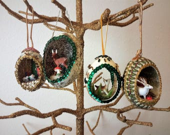 Vintage Diorama Christmas Ornaments Egg Shape Set of 4 Hand Crafted Nativity Deer Snowman