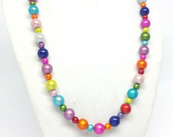 Rainbow mermaid necklace Valentines gift for her versatile jewelry miracle beads statement jewelry bridesmaid bridal ready to ship