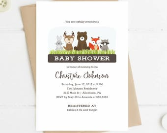 Printable Baby Shower Invitation, Woodland Animals