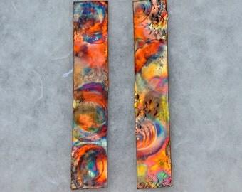 Long Copper Post Earrings - Rectangle Earring Posts - Rectangle copper earrings - Flame Painted Copper Earring Posts - Copper Stud Earrings