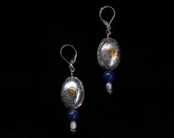 Pure Silver Bead accented with 24K Gold Lapis/ River Pearl Dangle Earrings